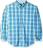 IZOD Men's Big and Tall Essential Plaid Long Sleeve Shirt, Gulf Stream, 3X-Large Big