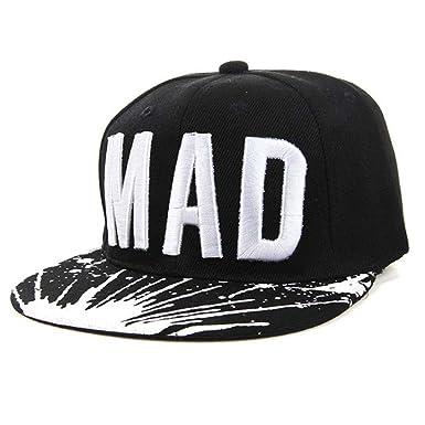 4f0991b2ef0 Kid Boys Girls Letters Baseball Caps Hat Flat Hip Hop Cap Snapback Cap  (BK)  Amazon.co.uk  Clothing