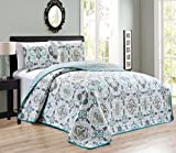3-Piece KING / CAL KING Abstract / Solid Blue Grey Reversible Bedspread Embossed Coverlet set Bed Cover