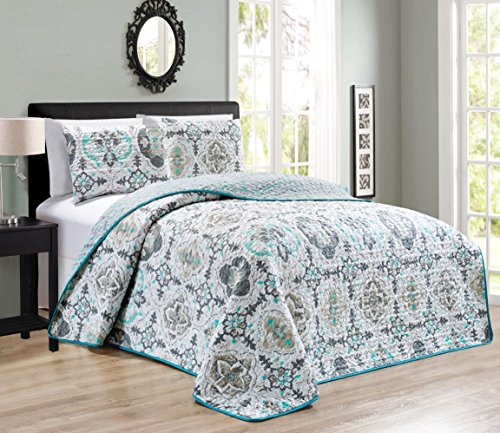 3-Piece QUEEN / FULL Abstract / Solid Blue Grey Reversible Bedspread Embossed Coverlet set Bed Cover