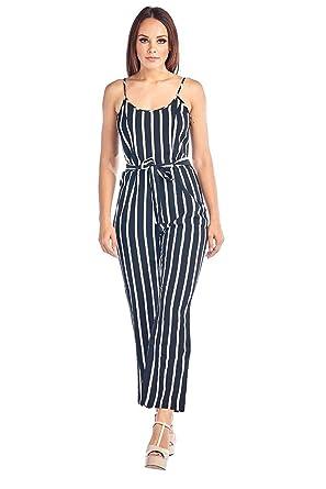 81888920db0b Amazon.com  Ci Sono Women s Follow Me Striped Jumpsuit  Clothing