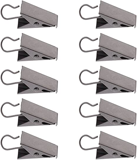 10Pcs Stainless Steel Shower Bathroom Curtain Clips Spring Clamps Home Decor