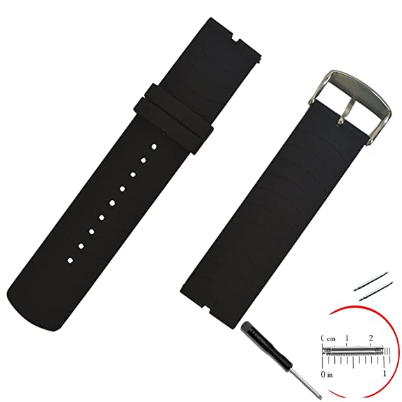 VIMVIP® 22mm / 210mm L Sport Silicone Smart Watch Replacement Band with 2 Pins Tool Screwdriver for Motorola Moto 360(Black)