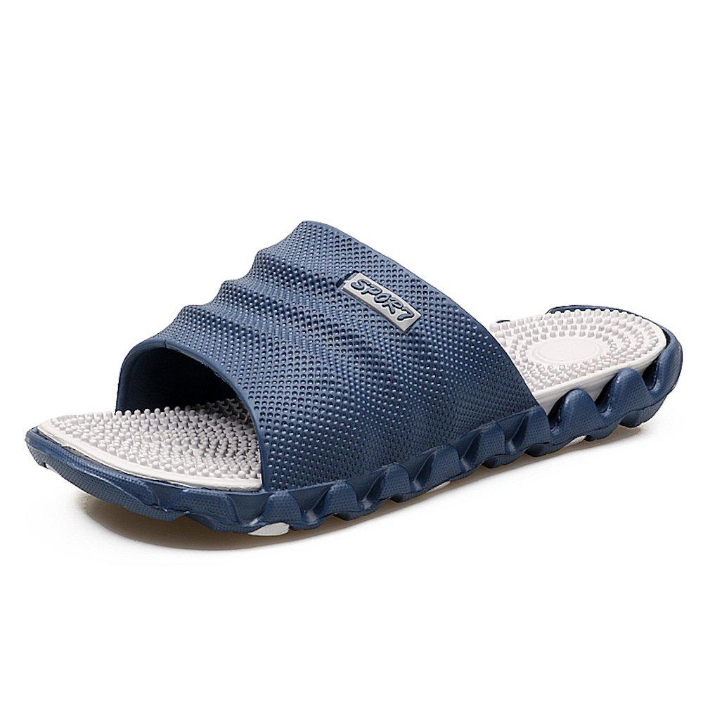 U. Buy Mens Boys Lightweight Slide Slippers Waterproof Reflexology Massage Health Flip Flops for Home Beach Swimming Pool Casual Summer Sandals Outdoor Shoes (9.5 D(M) US, Blue/Grey)