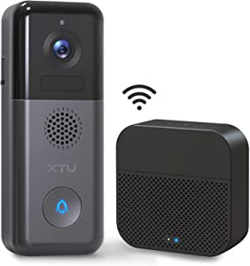 WiFi Video Doorbell Camera, XTU 2K Wireless Rechargeable Battery/Hardwired Powered Doorbell Camera with Wireless Chime(Battery Included), 2-Way Audio, Motion Detection, Support Local/Cloud Storage