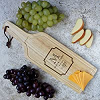 Personalized Wine Shaped Cutting Board with Monogram Design Options