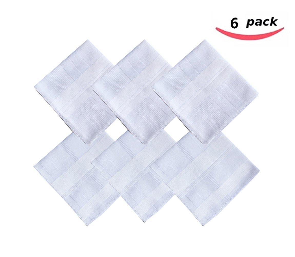 2 Pattern -Men's Cotton Handkerchiefs Solid White Large 17x17'' Hankies