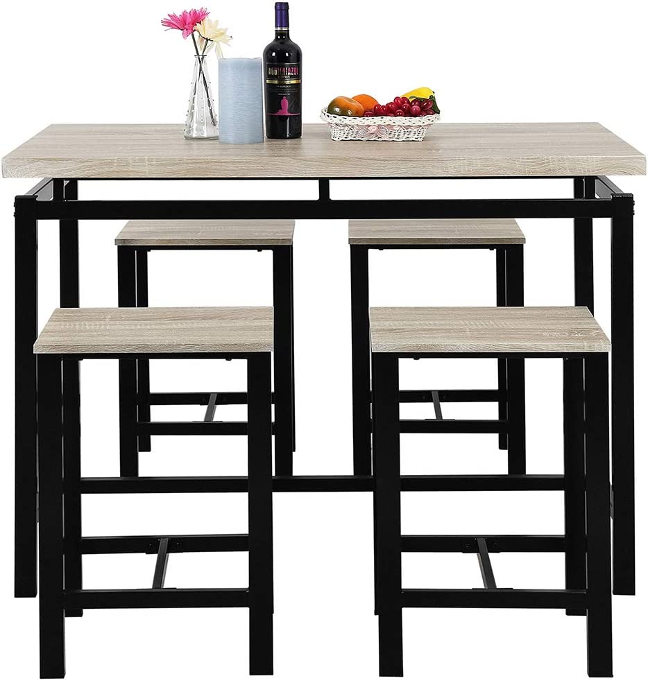 Mooseng Modern Yet Stylish 5 Piece Pub Table Set, Dining Height Table Perfect for bar, Kitchen, Breakfast Nook, Dining Room, Living Room Casual Occasions Beige
