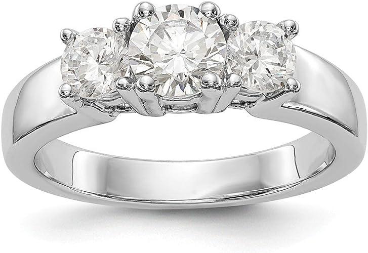 Amazon Com 14k White Gold 3 Stone Diamond Semi Mount Engagement