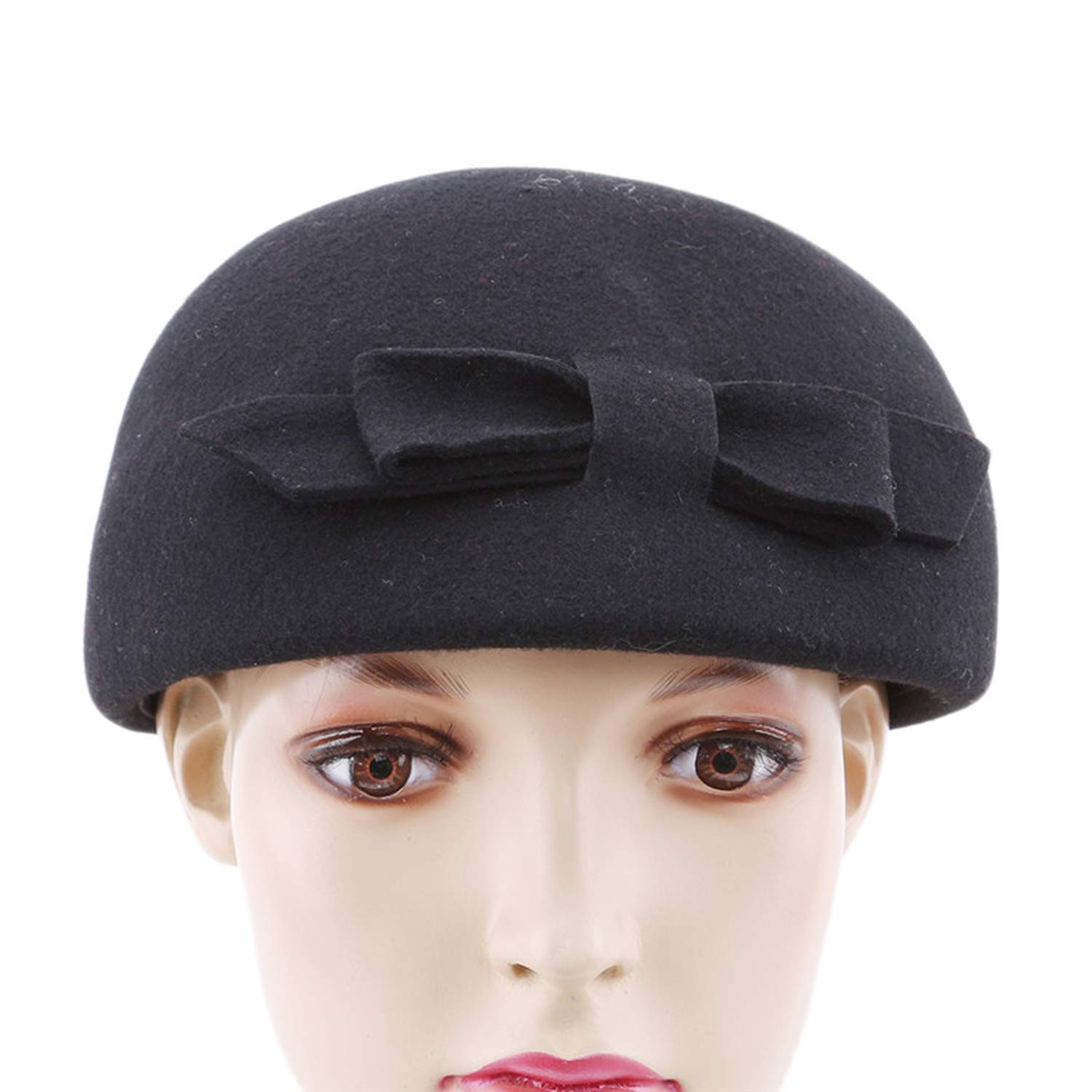 Autumn Winter New Women Fashion with Bow Female Solid Warm Wool Bow Berets Women Beret