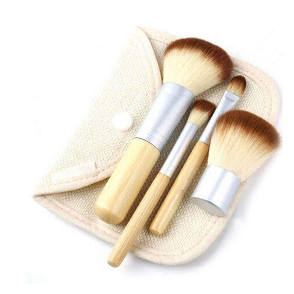 SMILEQ Portable 4Pcs Bamboo Makeup Brush Kit Eye Shadow Cosmetics Blending Brush Tool