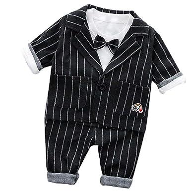09776a700dcba AMIGGOO 子供服 フォーマル スーツ 3点セット 蝶ネクタイ付き 男の子 ストライプ フォーマル 入学式