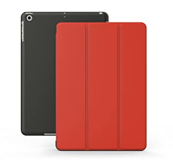 KHOMO Funda iPad Air 1 - Carcasa Roja y Negra Protectora Ultra Delgada y Ligéra con Smart Cover y Soporte para Apple iPad Air 1 - Red and Black