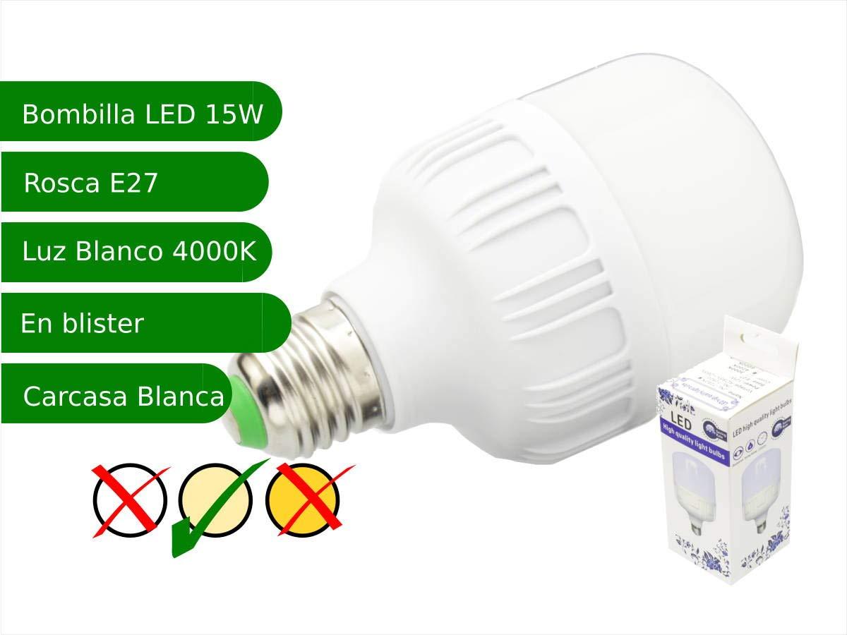5 x Bombilla LED 15W rosca E27 luz 4000K blanco neutro: Amazon.es: Iluminación