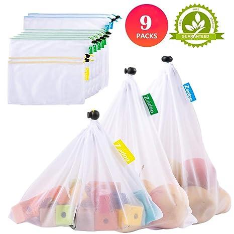 Zindoo Bolsas Compra Reutilizables Ecológicas, Alternativa al plástico, Lavable y Transpirable Bolsa de Malla para Almacenamiento Fruta Verduras ...