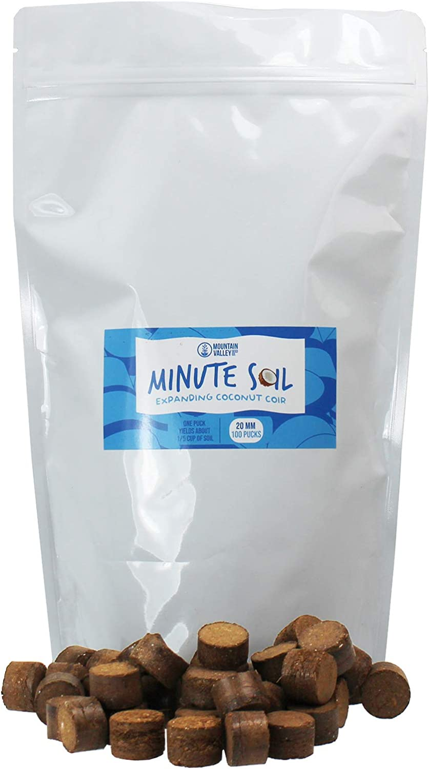 Minute Soil - Compressed Coco Coir Fiber Grow Medium - 20 MM Pellets - Bag of 100 = 5 Quarts of Potting Soil - Indoor Growing: House Plants, Herbs, Microgreens, Just Add Water - Peat Free - OMRI