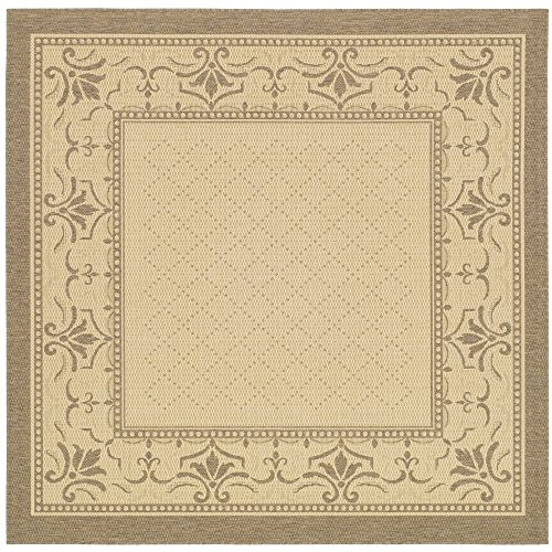 Safavieh Courtyard Collection CY0901-3001 Natural and Brown Indoor/ Outdoor Square Area Rug (6'7