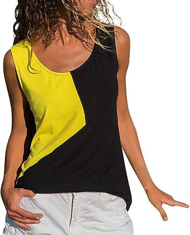 Slyar Camisetas Tirantes Mujer Tallas Grandes DiseñO De Moda De Contraste Camiseta Sin Mangas con Costuras Irregulares De Color SóLido Sin Mangas para Mujer Camisetas Mujer Manga Corta Verano: Amazon.es: Ropa y
