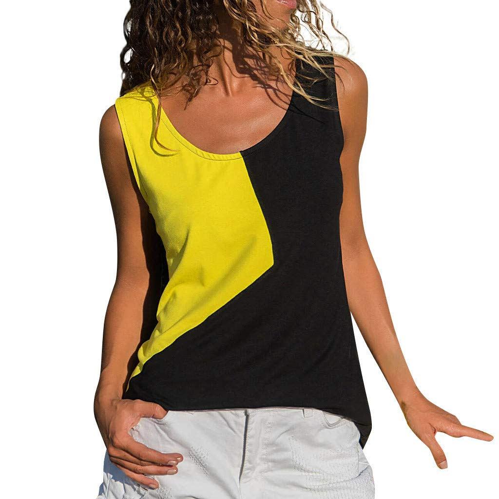 Shirts for Womens Causal Sexy Vest Irregular Splice Sleeveless Solid Blouse Tops Shirts Yellow