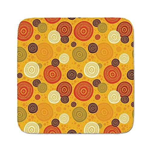 Cozy Seat Protector Pads Cushion Area Rug,Yellow Mandala,Kaleidoscopic Flora Pattern Folkloric Circular Round Disk Shapes Doodle Dots Decorative,Multicolor,Easy to Use on Any Surface