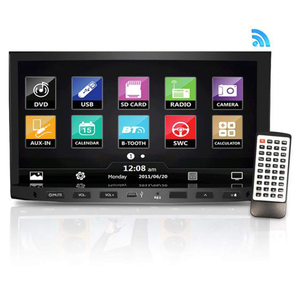 Premium Pyle 7-Inch Double-DIN Car Stereo Receiver With Bluetooth, Dash TouchscreenScreen, TFT/LCD Monitor, CD/DVD Player, Disc/MP3/MP4/USB /SD/AM/FM (NO Navigation Disc Included ) (PLDNV695B)