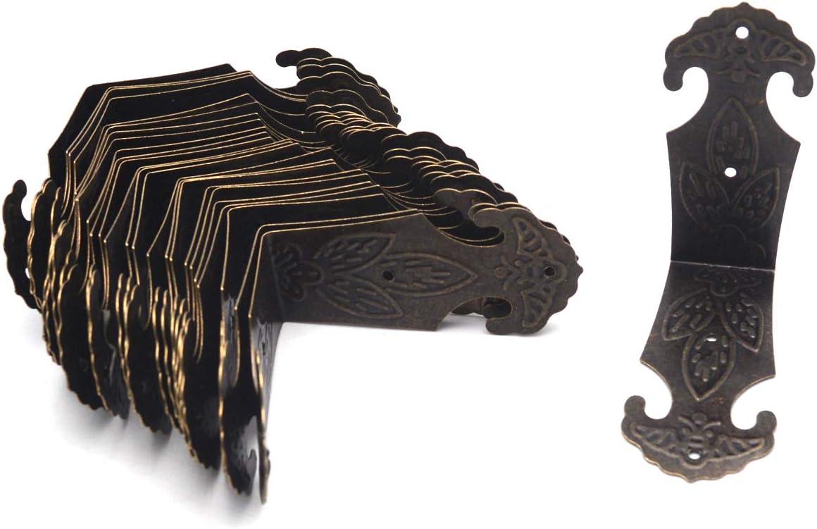 "Antrader Vintage Corner Protector Metal L Shaped Decorative Furniture Case Box Cover Corner Guards Bronze Tone, 24 Pack, 2.2"" x 1"""