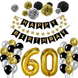 60th Birthday Party Decorations Kit, Gold Number 60 Ballon, 30pcs Black Silver and Gold Latex Ballon, 9pcs Tissue Paper Pom Poms for 60 Years Old Party Supplies