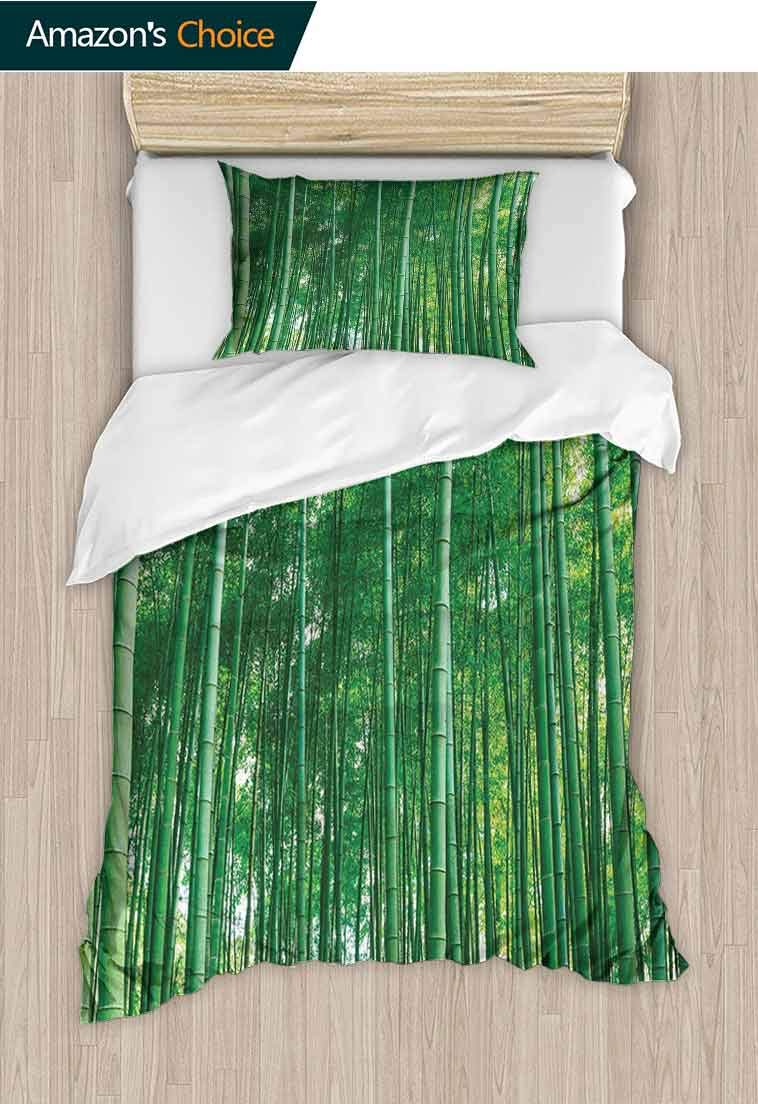 Bamboo Custom Made Quilt Cover and Pillowcase Set, Bamboo Forest with Fresh Vibrant Colors Tall Long Life Growth Deepness Symbol Zen Photo, Decorative 2 Piece Bedding Set with 1 Pillow Sham Green