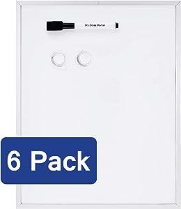 AmazonBasics Magnetic Dry Erase Board, aluminum frame, 11 x 14 Inch, 6 pack