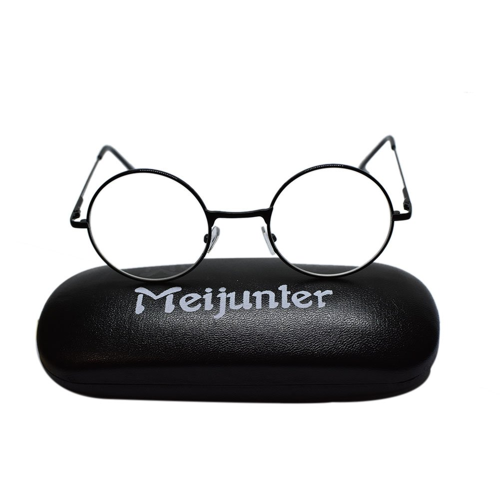 Meijunter Reading Glasses Retro Men Women Round Metal Frame Glasses