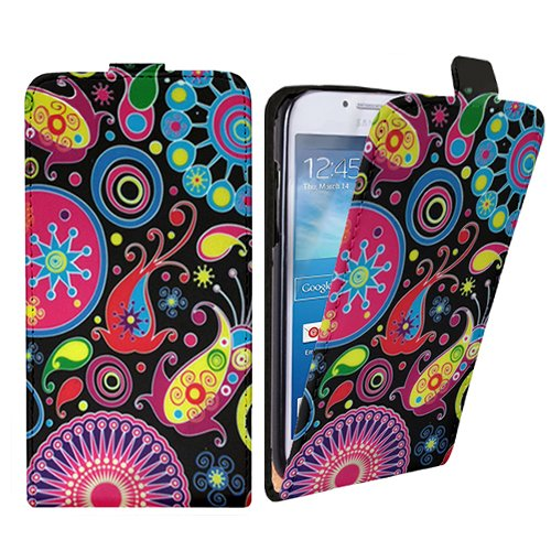 Xtra-Funky Exclusivo Cuero estilo del tirón cubierta de la caja de la carpeta con Hermosa medusas elegante y Flor diseños florales para Samsung Galaxy S5 (i9600) - Diseño B9 B9