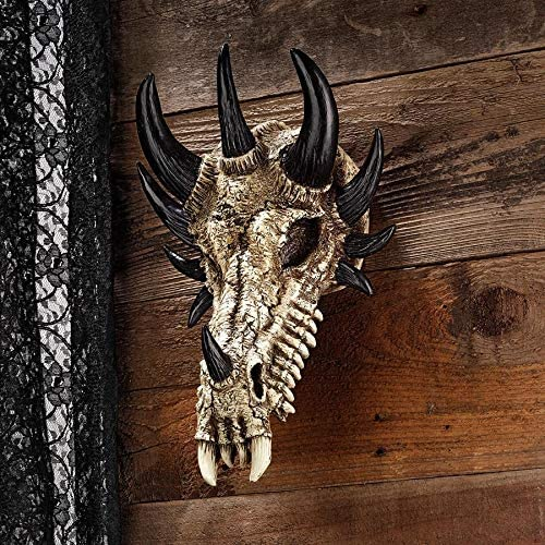Design Toscano Manchester s Dragon Bones Sculptural Skull Wall Trophy
