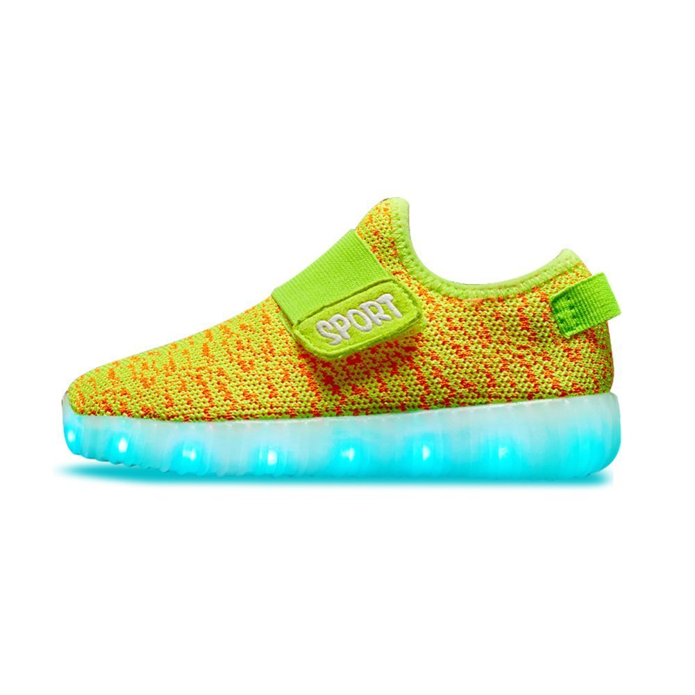 O/&N Kid Boy Girl Upgraded USB Charging LED Light Sport Shoes Flashing Fashion Sneakers Yellow9 M US Toddler