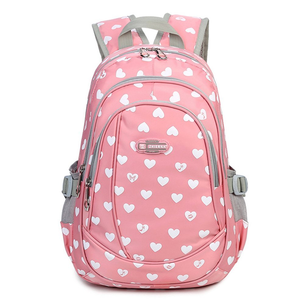 Abshoo Heart Printed School Backpacks For Girls Cute Elementary School Bookbags (Pink)