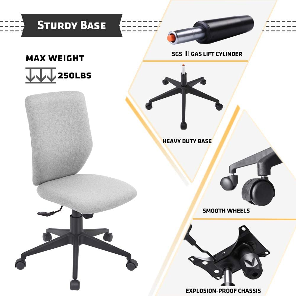 Bowthy Armless Office Chair Ergonomic Computer Task Desk Chair Without Arms Mid Back Fabric Swivel Chair Light Grey