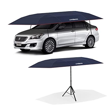 LANMODO Pro Semi-auto Car Umbrella Tent Cover Movable Carport Foldable with  Anti-UV,Water-Proof, Proof Wind,Snow,Storm,Hail, Falling Objects Features