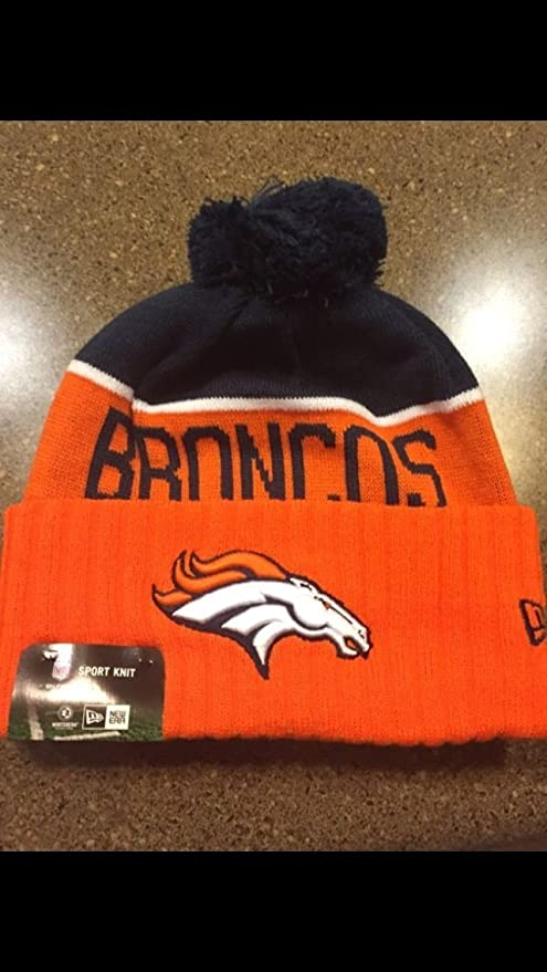 Image Unavailable. Image not available for. Color  New Era Knit Denver  Broncos Orange On Field Sideline Winter Stocking Beanie Pom Hat Cap 2015 6ffb34e95