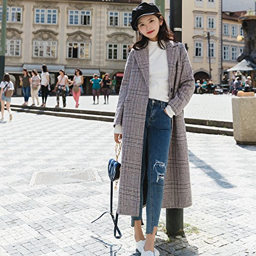 And Lattice Jacket Coat Long Type Cocoon Xuanku Of Type Thousands The Section Birds Women'S pink Winter Was Body Autumn Woolen Thin Of light Cocoon Lattice Iqpz1w