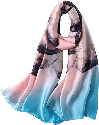 LD Pañuelos Cuello Mujer Seda de Imitacion Fulares Satén Estolas Regalo 180 * 90 cm
