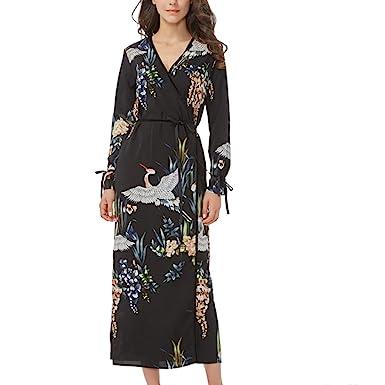 Women flower crane print maxi wrap dress long sleeve vintage bird pattern long loose dresses Vestidos