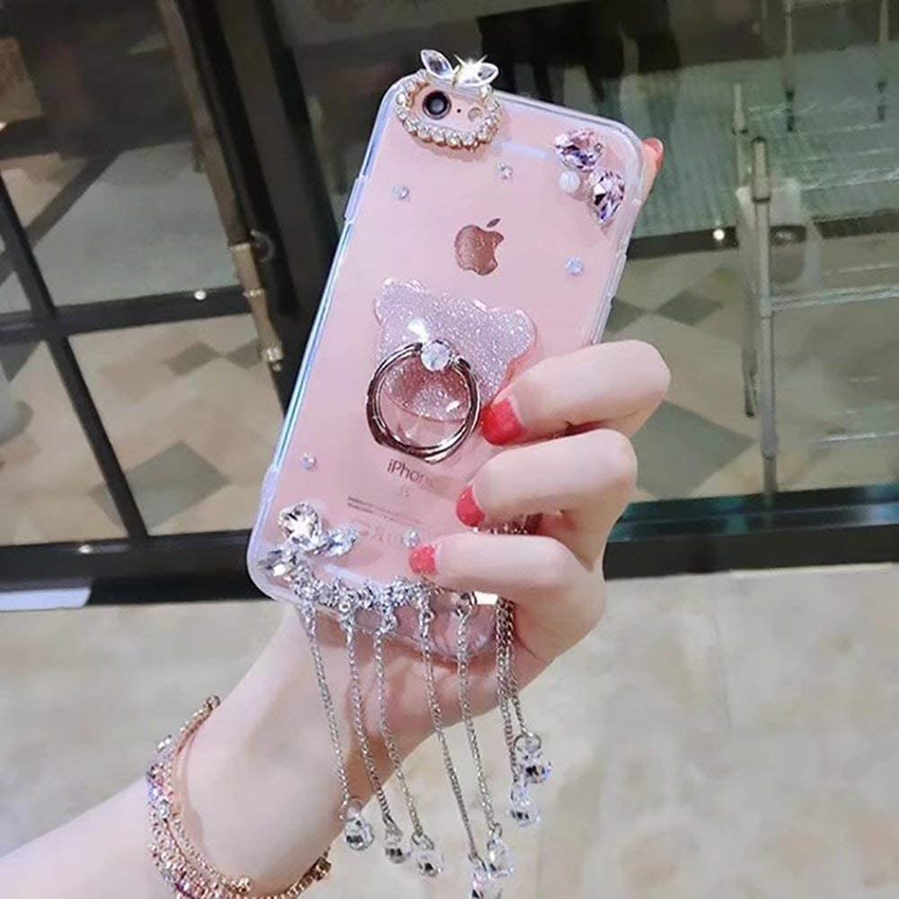 Bling Diamond Case for iPhone 7 Plus,LCHDA Glitter Clear Crystal Rhinestone Full Diamonds Luxury Sparkle Transparent Bumper Women Girls Protective Phone Case Cover for iPhone 8 Plus-Swan Tassel