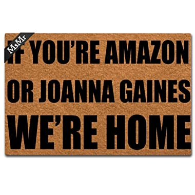 MsMr Doormat Entrance Mat Funny Doormat Home Office Decorative Door Mat Indoor/Outdoor Rubber 23.6 X15.7  - If You're Amazon Or Joanna Gaines We're Home