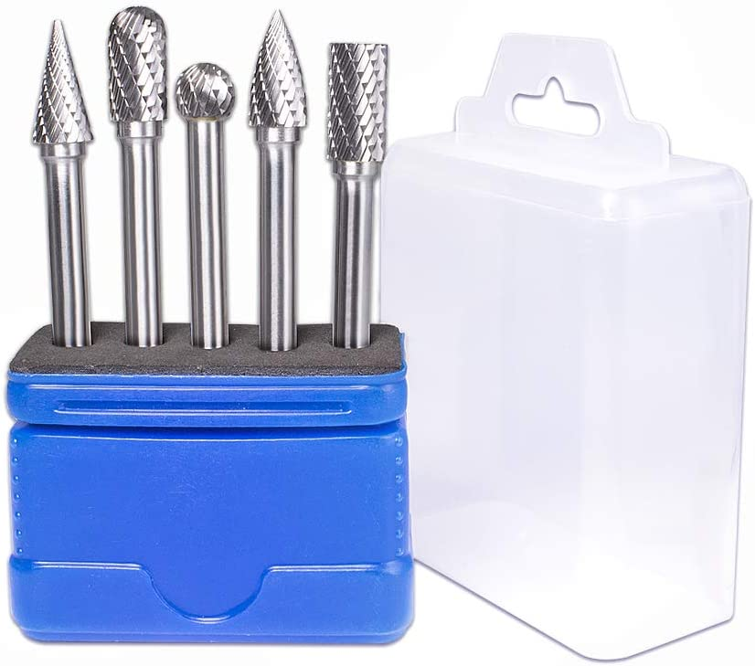 TJATSE 5Pcs Carbide Burrs Set with 1//4 Inch Shank Double Cut Solid Power Tools Tungsten Carbide Rotary Files Bits for Die Grinder Metal Wood Carving