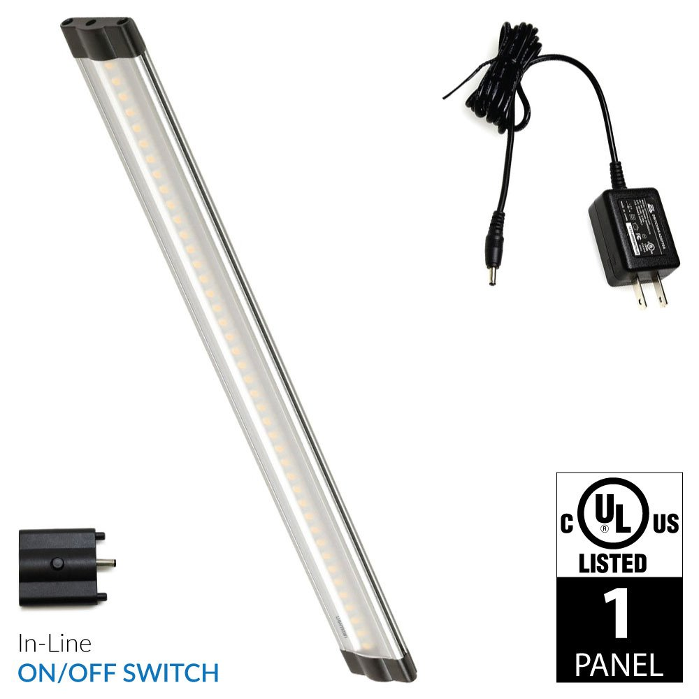 Lightkiwi Dimmable LED Under Cabinet Lighting 1 Panel Kit, 12 Inches Each, Warm White (3000K), 3 Watt, 24VDC, On/Off Switch & All Accessories Included, Low Profile, Sturdy Aluminum Body, UL Listed by Lightkiwi