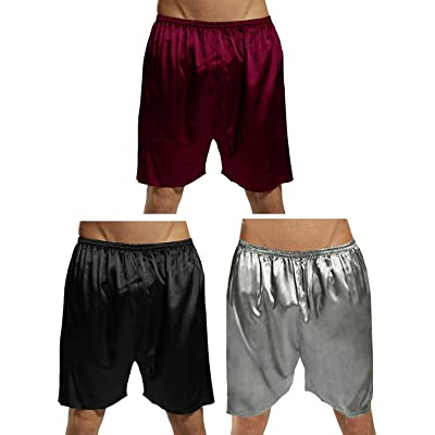 (Pack of 3) SILK MODA - Mens Silk Boxer Shorts Underwear/Lounge Shorts - Multicolor (Size: M) at Amazon Men's Clothing store
