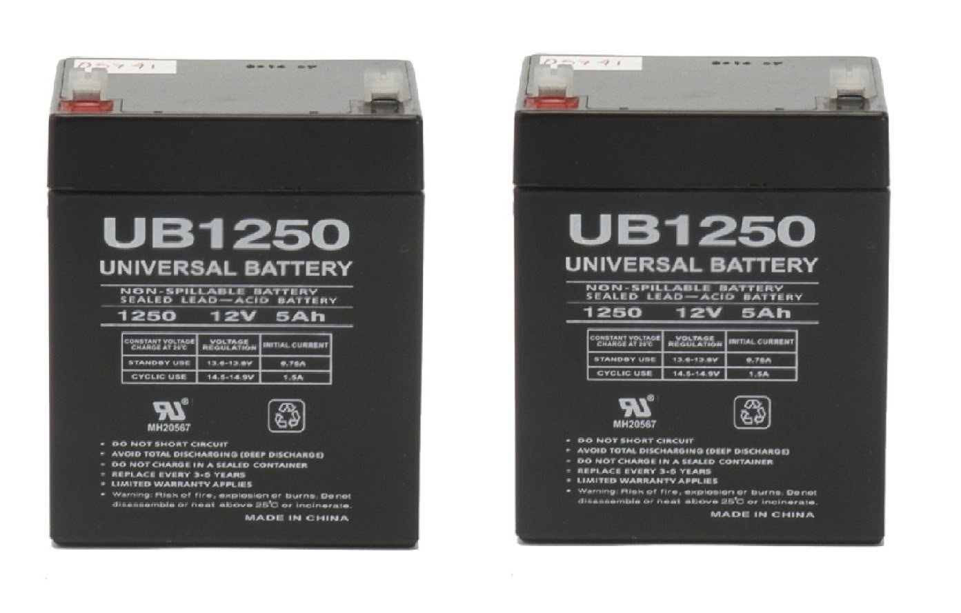 Razor E100 Electric Scooter battery 12V 5AH - 2 Pack - UPG Brand (With Flashlight Bundle)