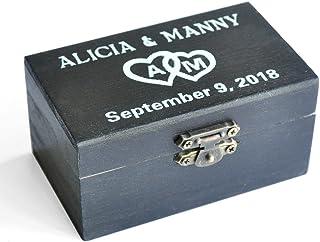 Black Wedding Ring Box, Custom Wedding Ring Bearer Ring Pillow Box Personalized Wedding Decor