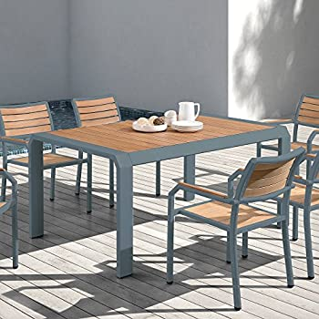 armen living minsk outdoor patio dining table in powder coated finish with teak wood top ltl gray