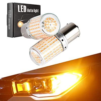 BA15S 1156 P21W S25 LED Turn Signal Lights Bulbs Error Free No Anti Hyper Flash Amber Yellow Tail Lamps Front Rear Replacement Super Bright Projector 3014SMD 12V 21W 1 Year Warranty 2 Pack【1797】: Automotive