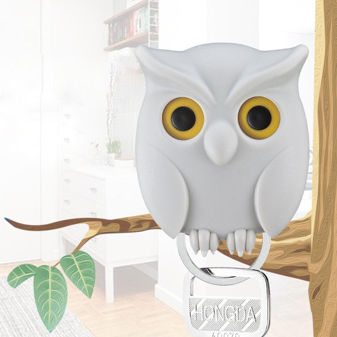Highpot Night Owl Key Holder Wall Mounted Magnetic Key Holder Creative Home Decor (White)